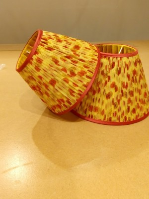 Gathered lampshades with contrast binding and pleated lining