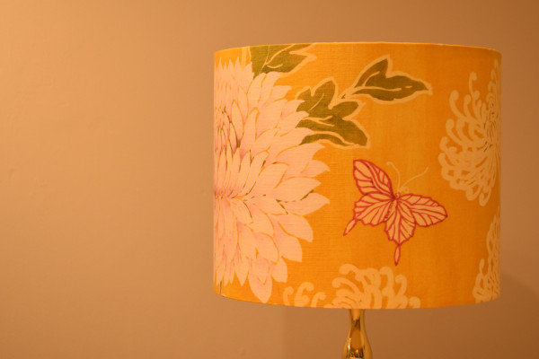 Bespoke rigid lampshades with coloured interiors