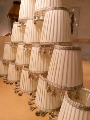 Bespoke pleated lampshades with trim