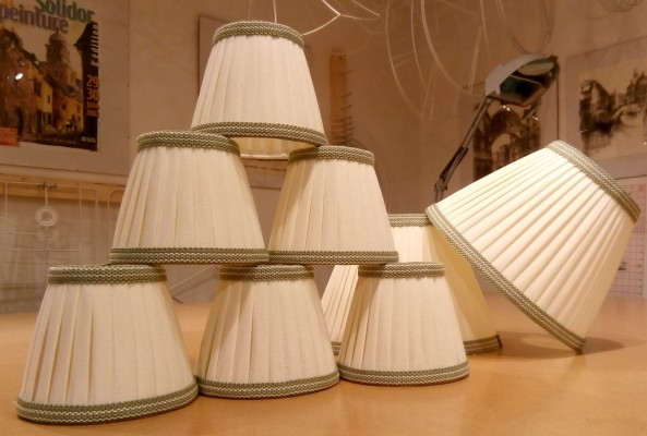 Knife pleated linen lampshades with contrast trim