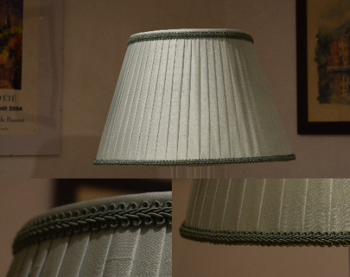 Pleated lampshade with self trim and contrast binding