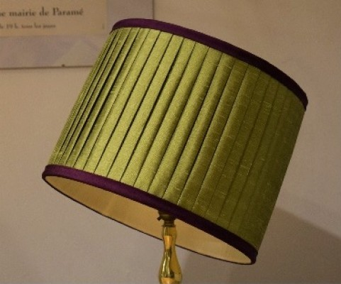 Knife pleated silk dupion lampshade with contrast trim