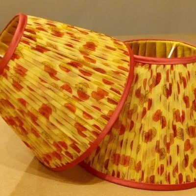Gathered lampshades with contrast binding